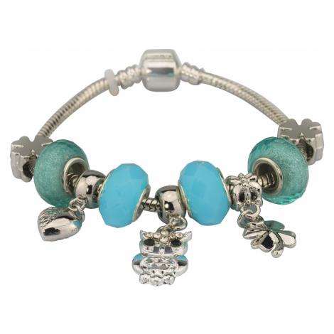 Linda's Jewelry Náramek s přívěsky Light Blue Owl INR051