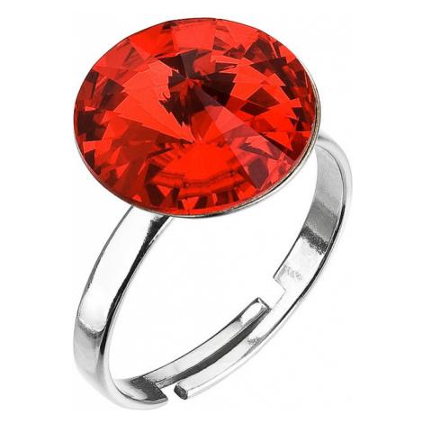 Evolution Group Stříbrný prsten s krystaly červený 35018.3 light siam