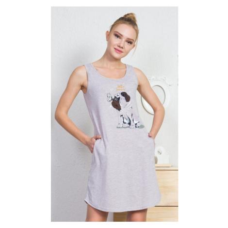 Dámské domácí šaty na ramínka Buldoček, S, béžová Vienetta Secret