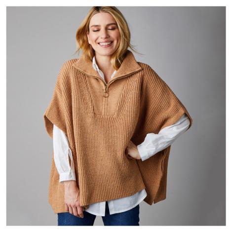 Blancheporte Pončo pulovr karamelová