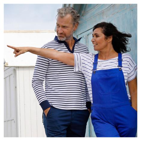 Blancheporte Pruhované tričko s dlouhými rukávy bílá/nám.modrá