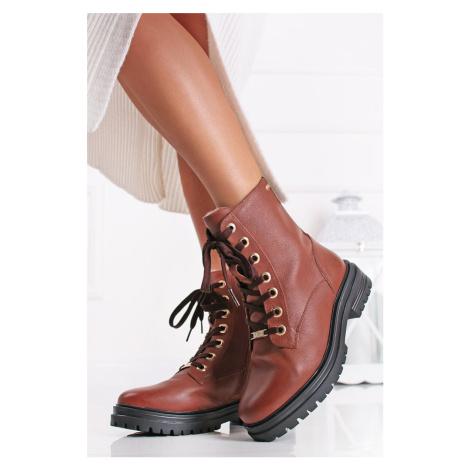 Skořicové kožené kotníkové boty 5-26253 s.Oliver