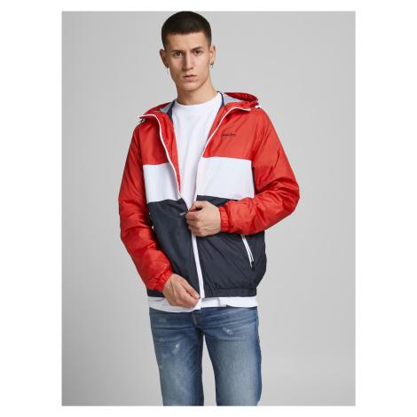 Modro-červená lehká bunda s kapucí Jack & Jones Hunter