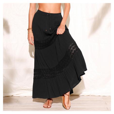 Blancheporte Dlouhá sukně s macramé černá