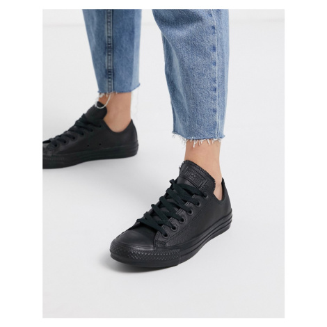 Converse Chuck Taylor All Star Ox black leather monochrome trainers
