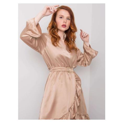 Dark beige dress with a frill