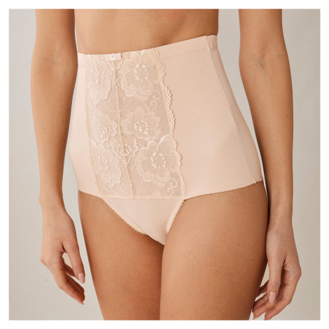 Blancheporte Stahující kalhotky s vysokým pasem z krajky tělová