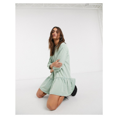 Bershka jersey smock dress in mint green