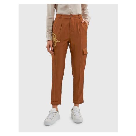 Kalhoty La Martina Woman Viscose Twill Cargo Pant - Hnědá