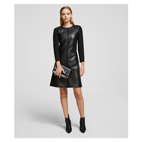 Šaty Karl Lagerfeld Leather & Punto Dress - Černá