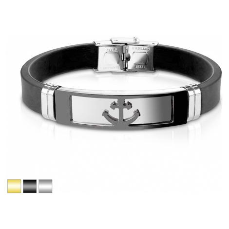 Ocelový náramek s řemínkem z černého silikonu - podlouhlá známka se vzorem kotvy - Barva: Zlatá Šperky eshop