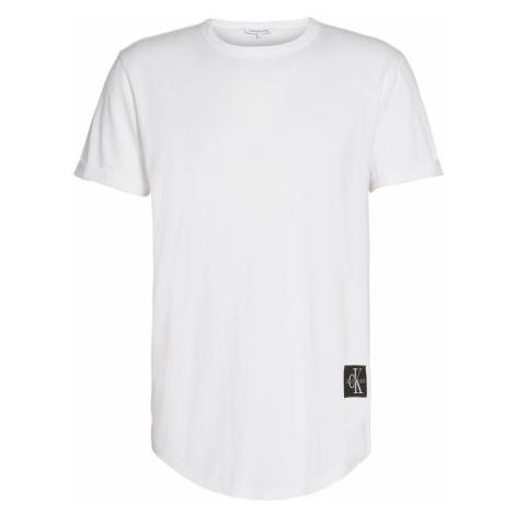 Calvin Klein Calvin Klein pánské bílé tričko BADGE TURN UP SLEEVE