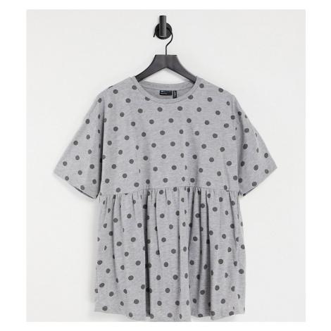 ASOS DESIGN Maternity nursing double layer smock top in spot print-Grey