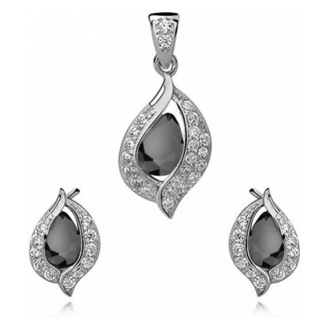 OLIVIE Sada BLACK stříbrných šperků se zirkony 2995