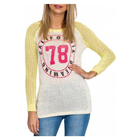 Dámský žluto-bílý svetr s potiskem BASIC