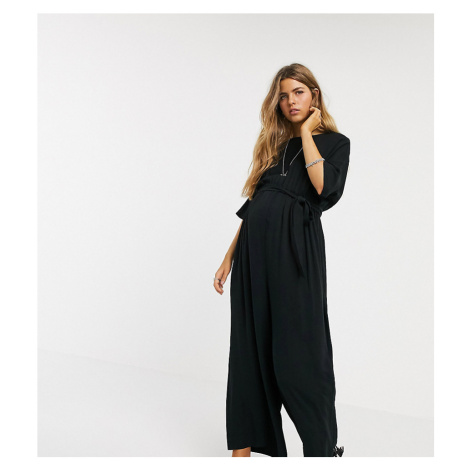 ASOS DESIGN Maternity tie waist jumpsuit-Black