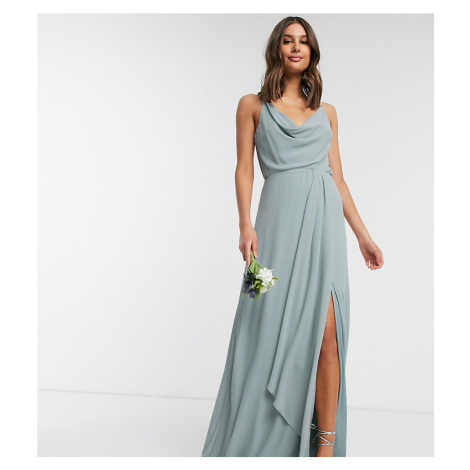 TFNC Tall bridesmaid cowl neck cami strap maxi dress with train in sage-Green