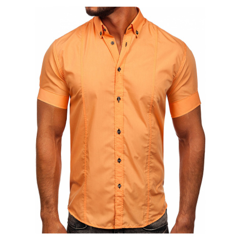 Oranžová pánská košile s krátkým rukávem Bolf 5528