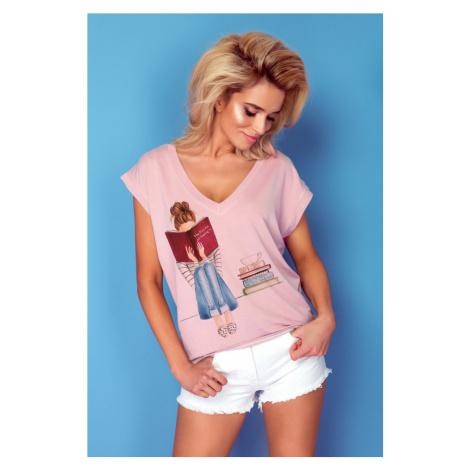 Dámské růžové tričko s obrázkem knih K433
