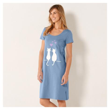 Blancheporte Krátká noční košile s potiskem koček modrá