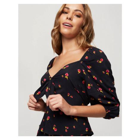 Miss Selfridge blouse with tie detail in floral print-Black