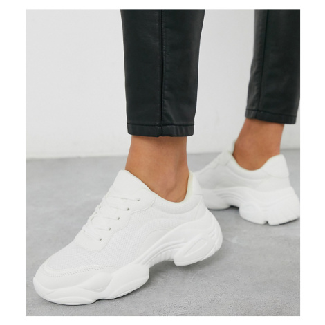ASOS DESIGN Wide Fit Destined chunky trainers in white