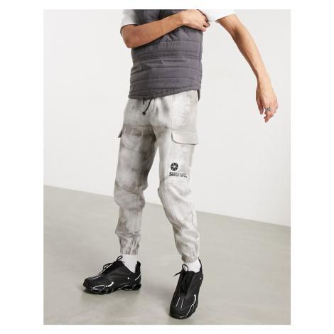 Bershka cargo joggers in grey tie dye