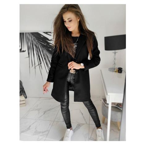 Jednořadý kabát na knoflíky černý kabát s podšivkou a kapsami
