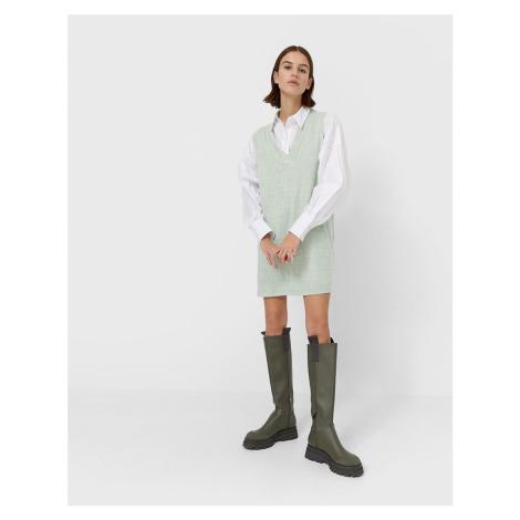 Stradivarius mini vest jumper dress in mint-Green