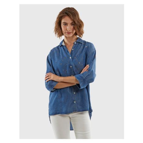 Košile La Martina Woman 3/4Sleeve Shirt Denim Te - Modrá