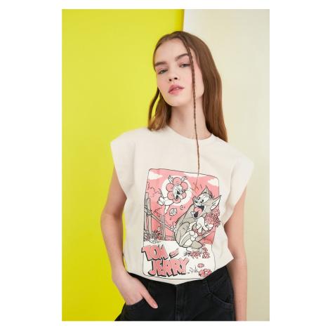 Trendyol Beige Tom & Jerry Licensed Printed Sleeveless Basic Knitted T-Shirt