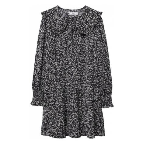 MANGO Košilové šaty 'KIDO' černá / bílá