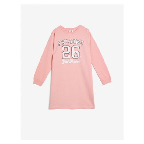 Koton Women's Pink Crew Neck Long Sleeve Printed Print Dress