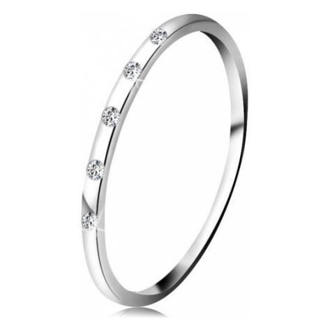 Prsten v bílém 14K zlatě - pět drobných čirých diamantů, tenký kroužek Šperky eshop