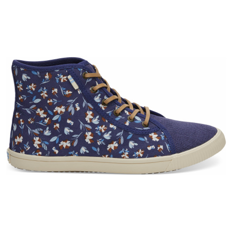 Deep Cobalt Vintage Flower Women Camarillo Sneak Toms
