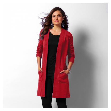 Blancheporte Dlouhý svetr bez zapínání červená