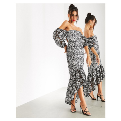 ASOS EDITION mono floral embroidered cutwork milkmaid dress-Multi