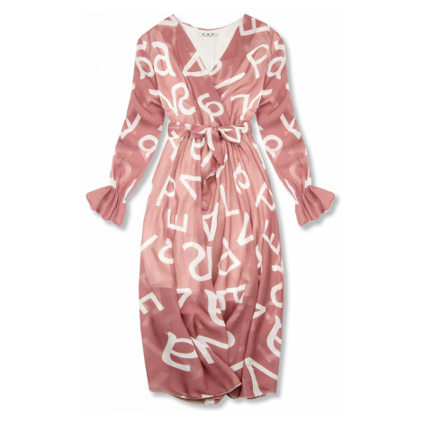 Světle růžové midi šaty s potiskem písmen Butikovo