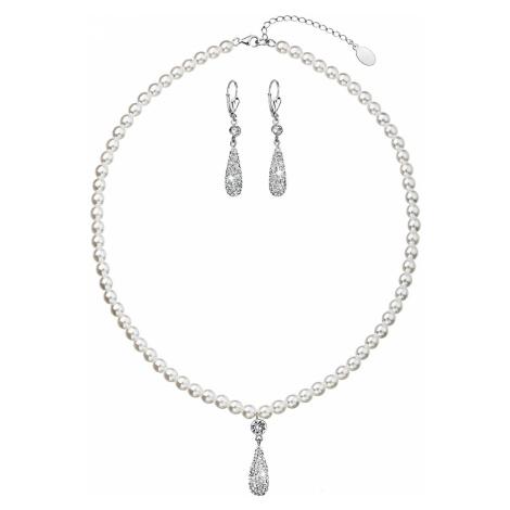 Sada šperků se syntetickými perlami a krystaly Swarovski náušnice a přívěsek bílá slza 39121.1 Victum
