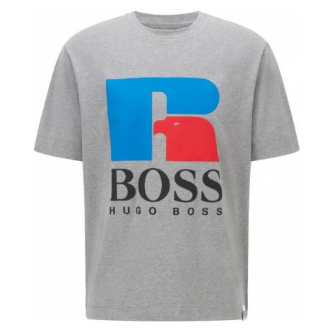 BOSS Casual Tričko 'Russell Athletic' šedý melír / modrá / světle červená / černá