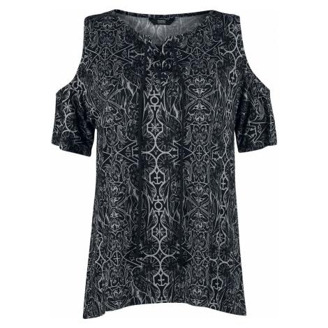 Banned Alternative Esoteric Cold Shoulder Top Dámské tričko cerná/šedá
