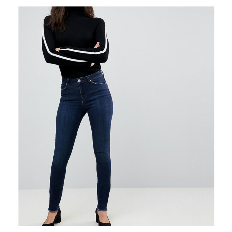 ASOS DESIGN Tall Lisbon skinny midrise jeans in dark wash blue in ankle grazer length