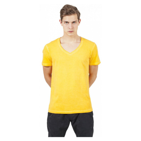 Spray Dye V-Neck Tee - yellow Urban Classics