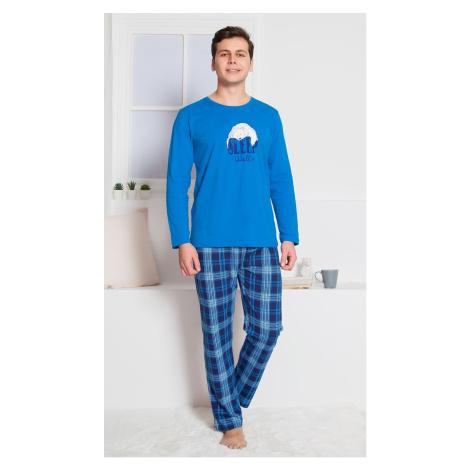 Pánské pyžamo Vienetta Secret Sleep well dlouhé | modrá