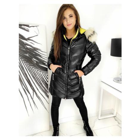 Černá lesklá dámská bunda s kožíškem TY1551 BASIC