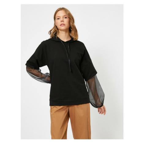 Koton Women Black Hooded Sweatshirt
