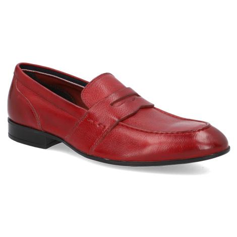 Pat Calvin hladká kůže klasické nazouvací boty červená