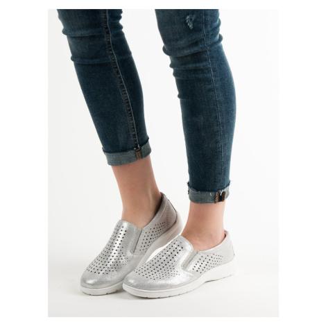 Módní polobotky dámské šedo-stříbrné bez podpatku Kylie