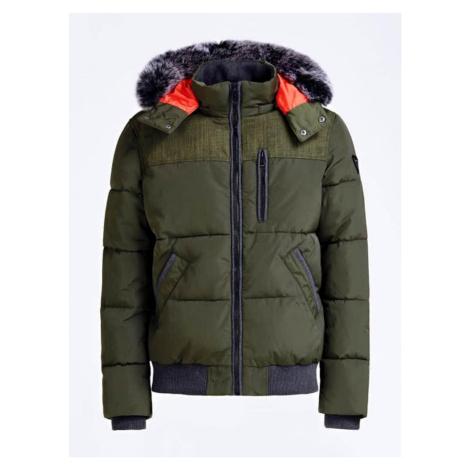 Guess GUESS péřová zelená bunda s kapucí