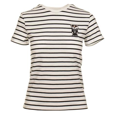 Karl Lagerfeld dámské tričko bílé s proužkem